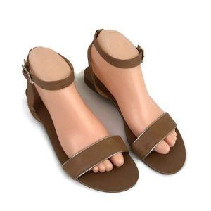 Talbots Leather Ankle Strap Sandals Tan Size 8.5